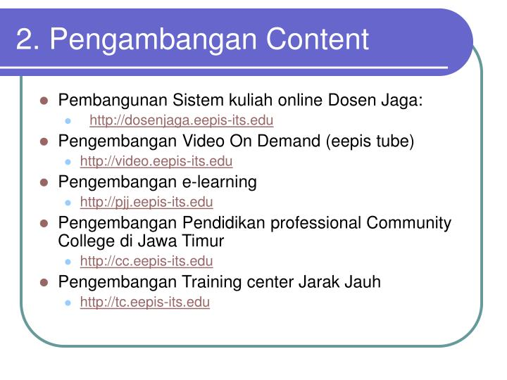 2. Pengambangan Content