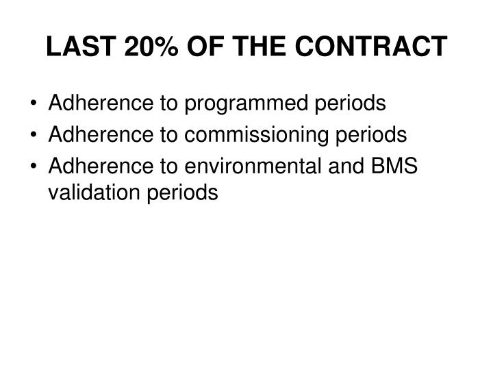LAST 20% OF THE CONTRACT