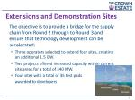extensions and demonstration sites