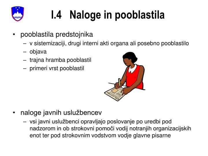 I.4   Naloge in pooblastila