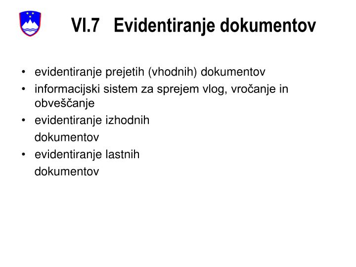 VI.7   Evidentiranje dokumentov