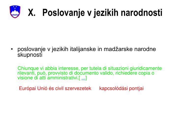 X.   Poslovanje v jezikih narodnosti