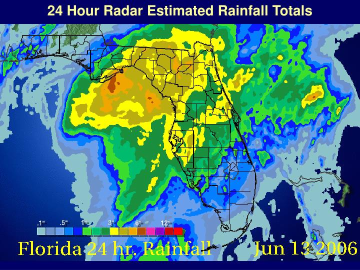 24 Hour Radar Estimated Rainfall Totals