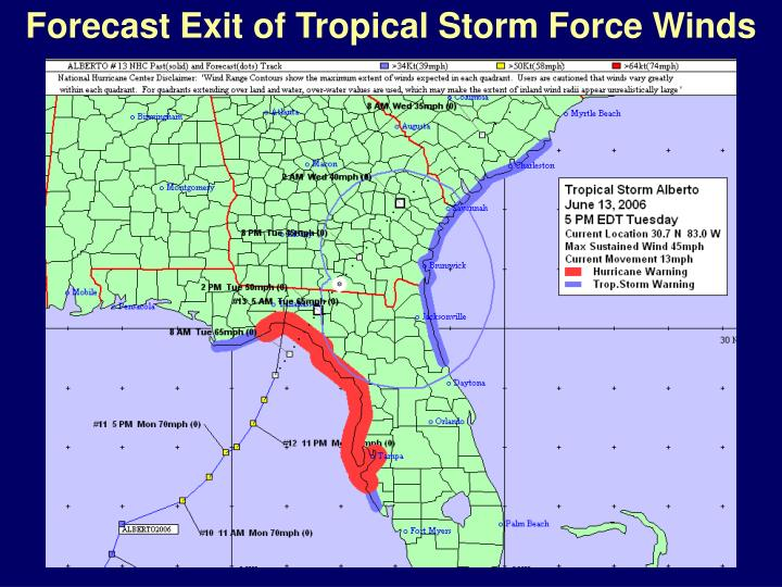 Forecast Exit of Tropical Storm Force Winds
