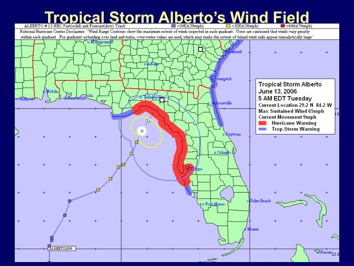 Tropical Storm Alberto's Wind Field