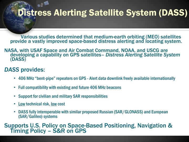 Distress alerting satellite system dass