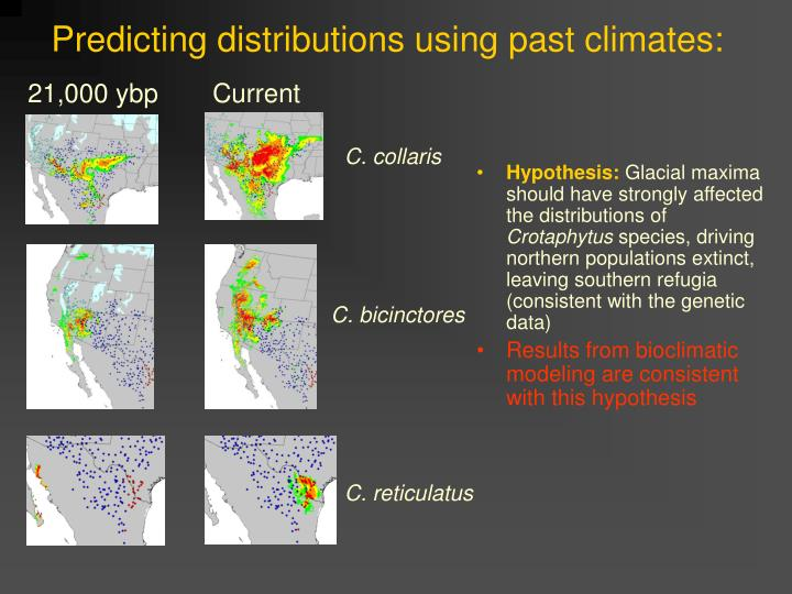 Predicting distributions using past climates: