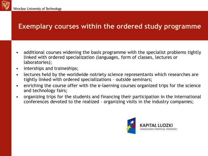 Exemplary courses within the ordered study programme