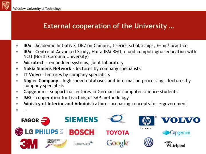 External cooperation of the University …