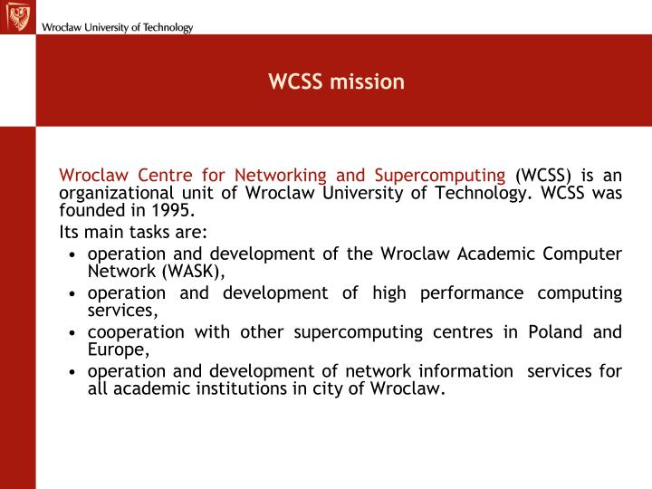 WCSS mission