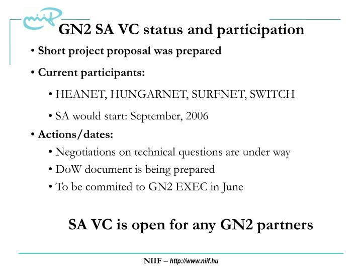 GN2 SA VC status and participation