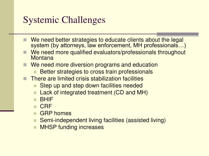 Systemic Challenges