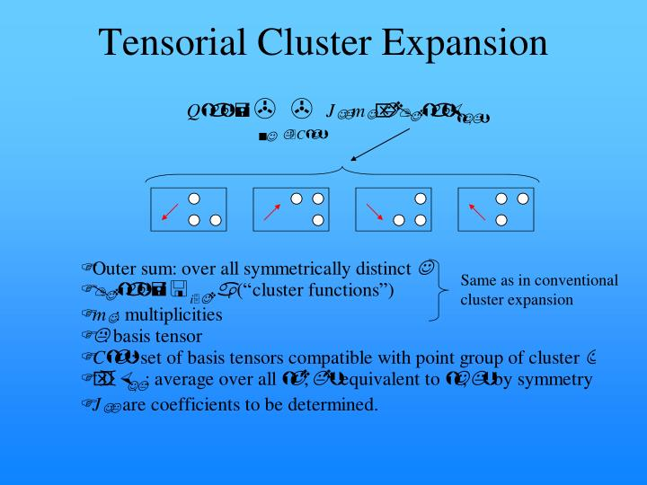 Tensorial Cluster Expansion