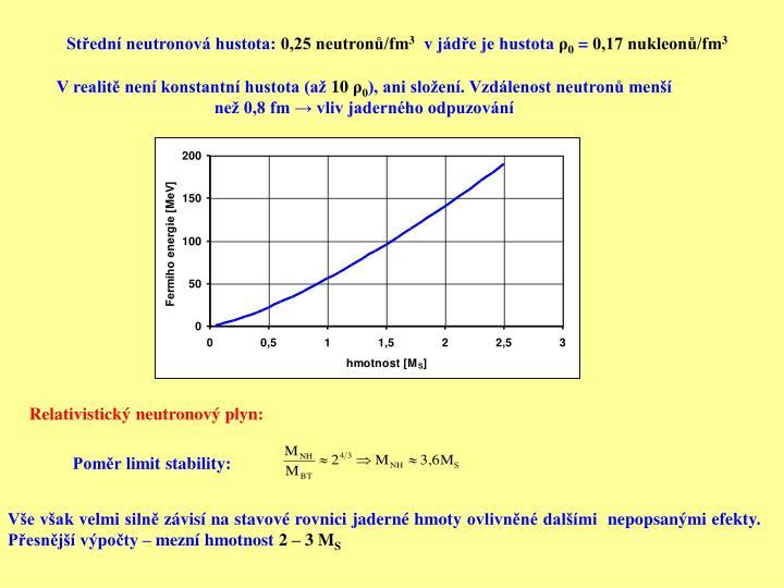Střední neutronová hustota: