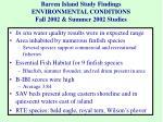 barren island study findings environmental conditions fall 2002 summer 2002 studies