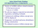 james island study findings environmental conditions continued