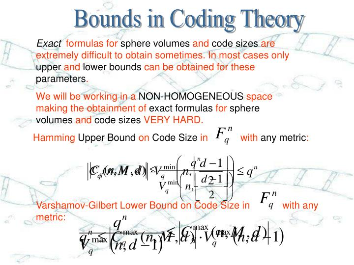 Bounds in Coding Theory