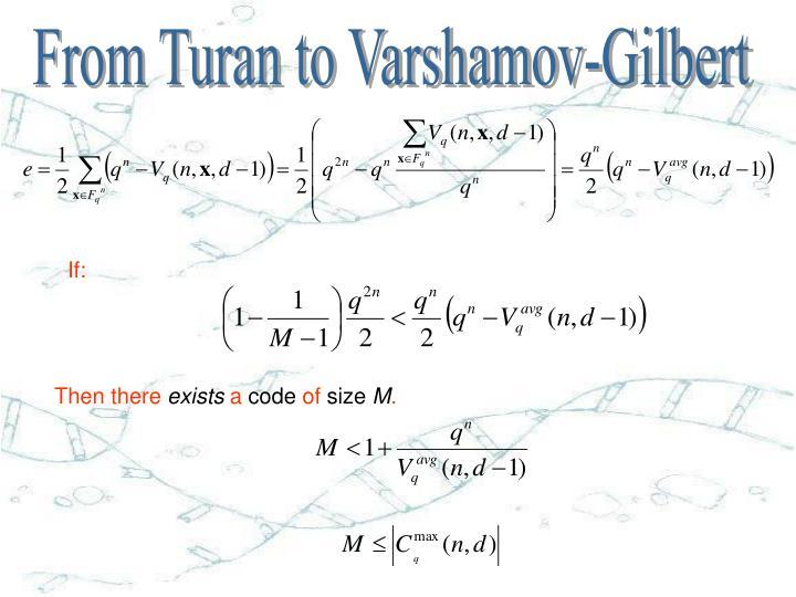 From Turan to Varshamov-Gilbert