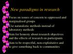 new paradigms in research
