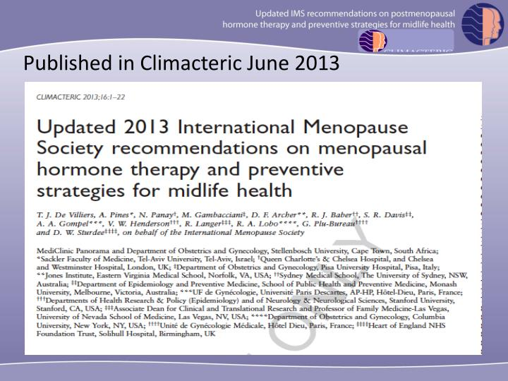 Published in Climacteric June 2013