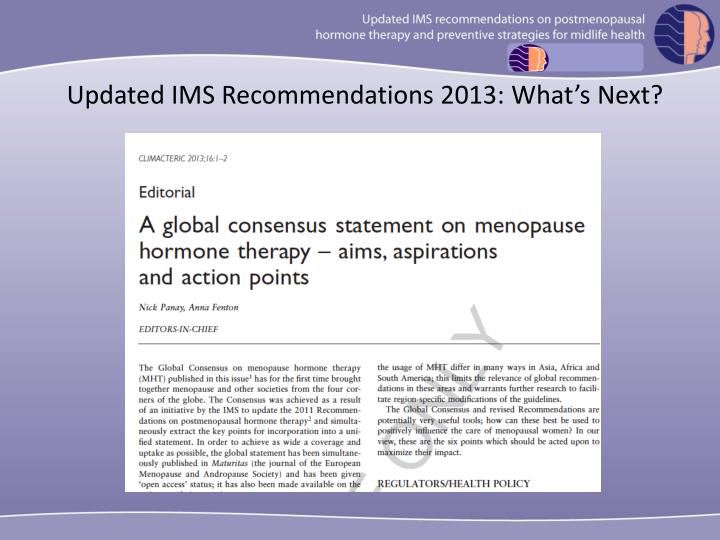 Updated IMS Recommendations 2013: What