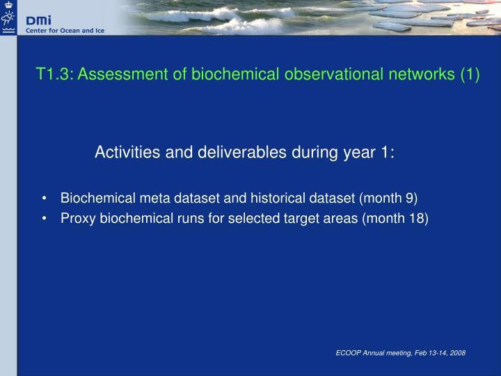 T1.3: Assessment of biochemical observational networks (1)