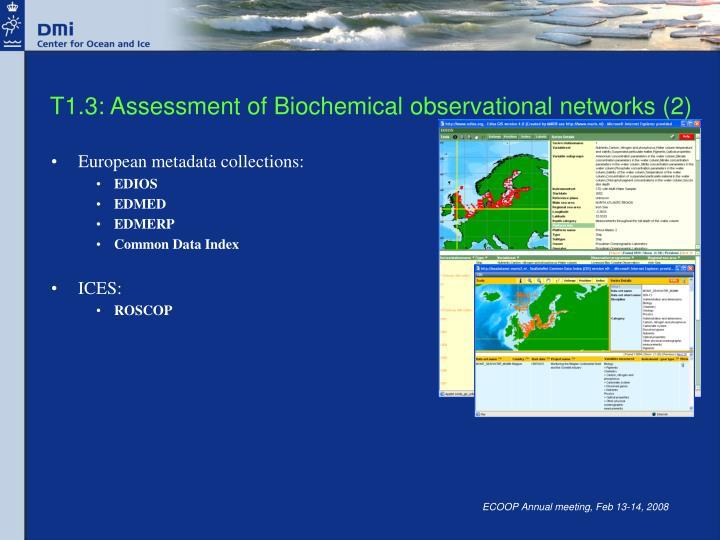 T1.3: Assessment of Biochemical observational networks (2)