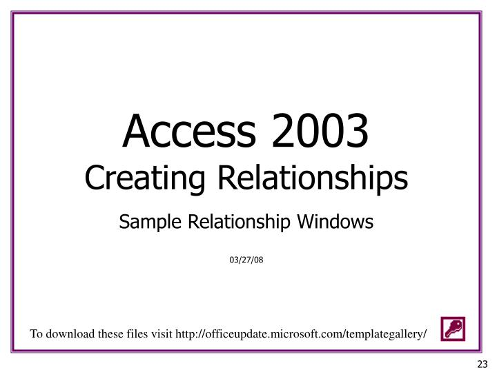 access 2003 creating relationships
