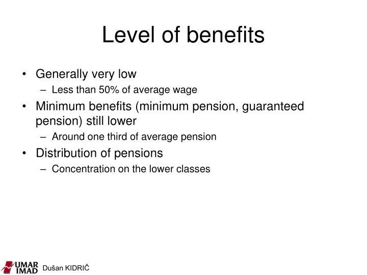 Level of benefits