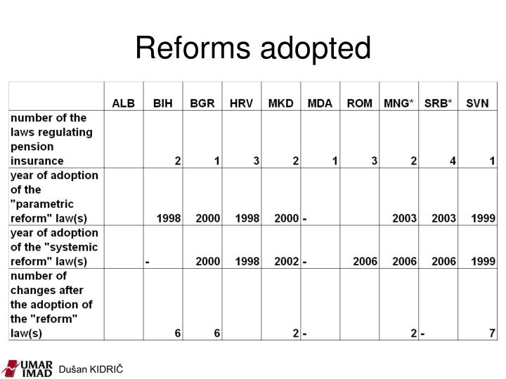 Reforms adopted