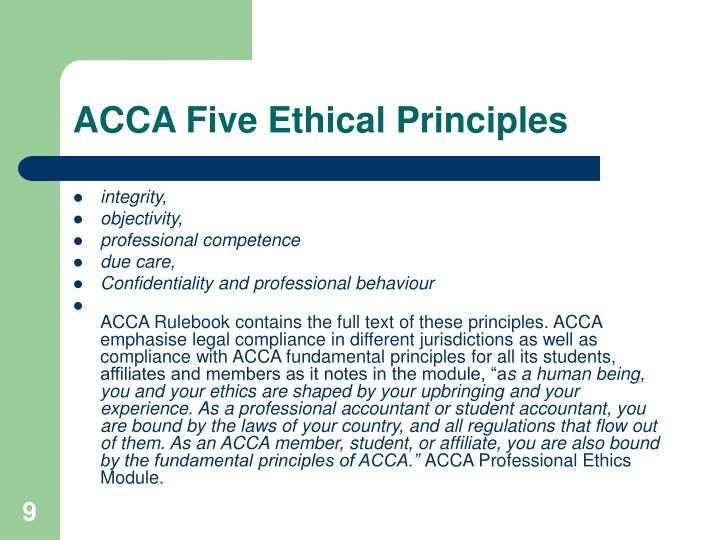 ACCA Five Ethical Principles