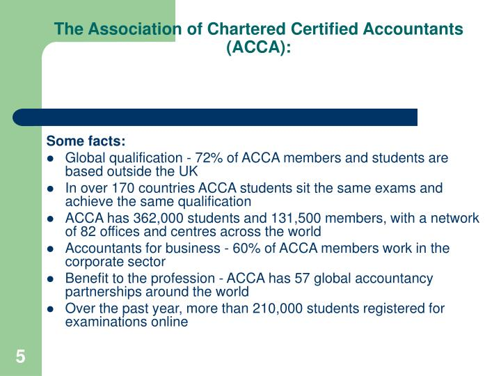 The Association of Chartered Certified Accountants (ACCA):