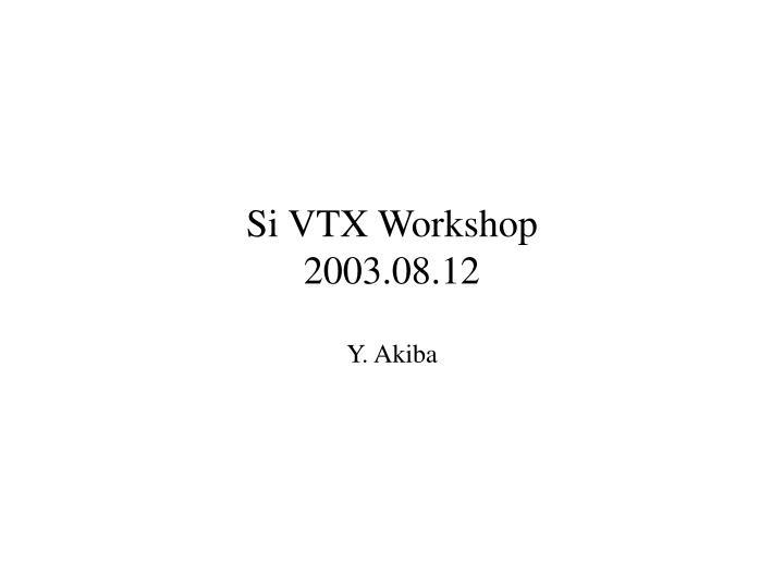 Si vtx workshop 2003 08 12