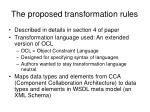 the proposed transformation rules