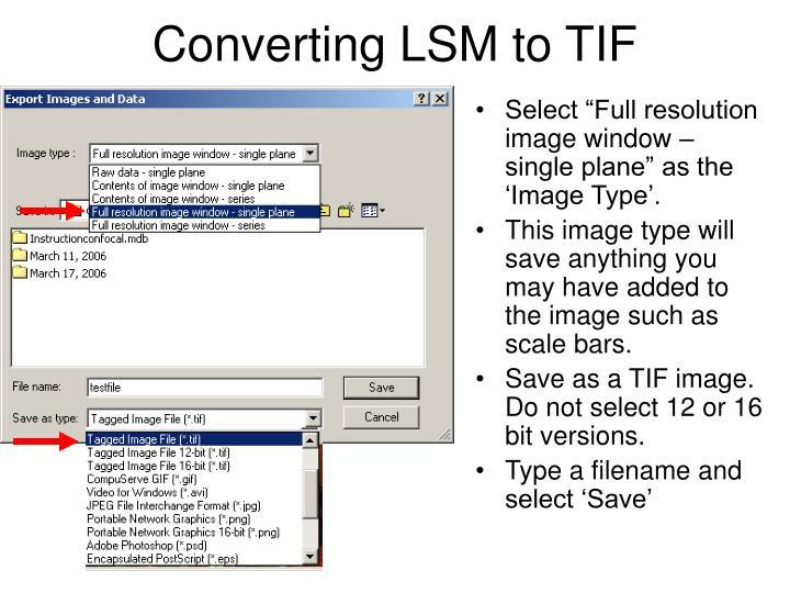 Converting LSM to TIF