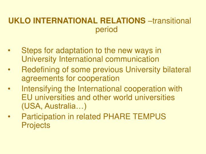 UKLO INTERNATIONAL RELATIONS