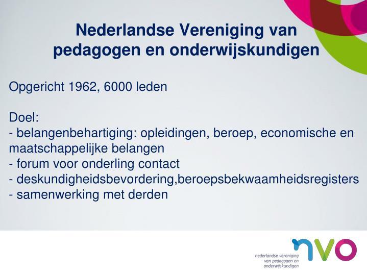 Nederlandse vereniging van pedagogen en onderwijskundigen