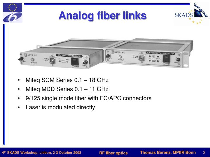 Analog fiber links