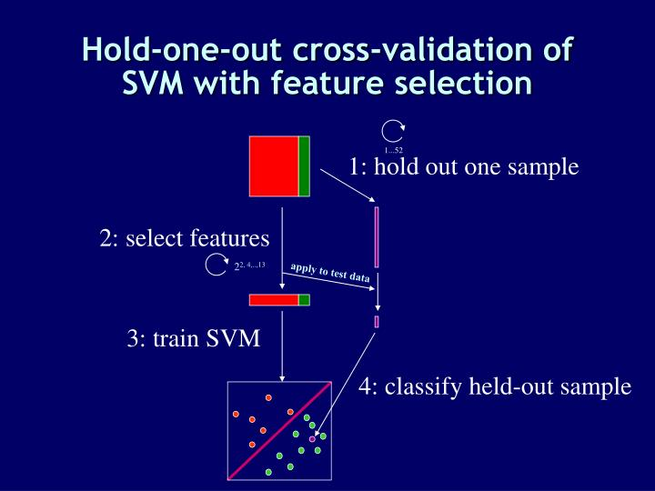 Hold-one-out cross-validation of SVM with feature selection