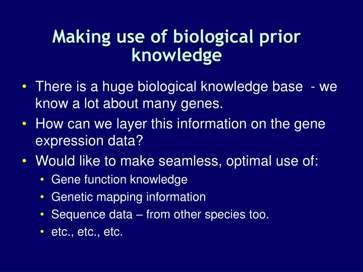 Making use of biological prior knowledge