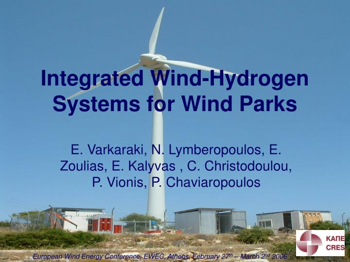 integrated wind hydrogen systems for wind parks n.