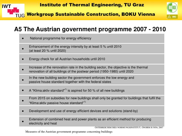 A5 The Austrian government programme 2007 - 2010