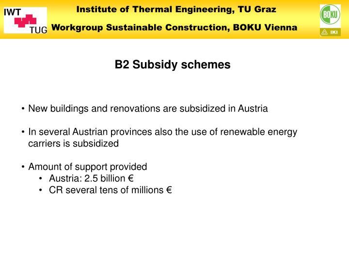 B2 Subsidy schemes