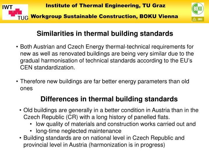 Similarities in thermal building standards