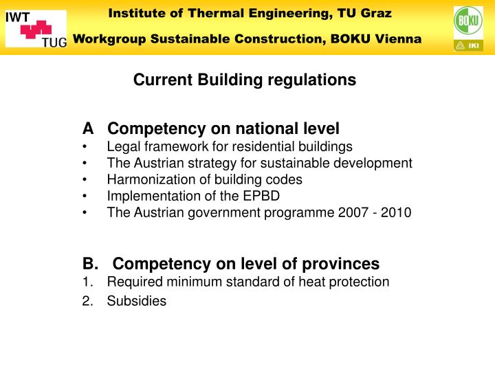 Current Building regulations