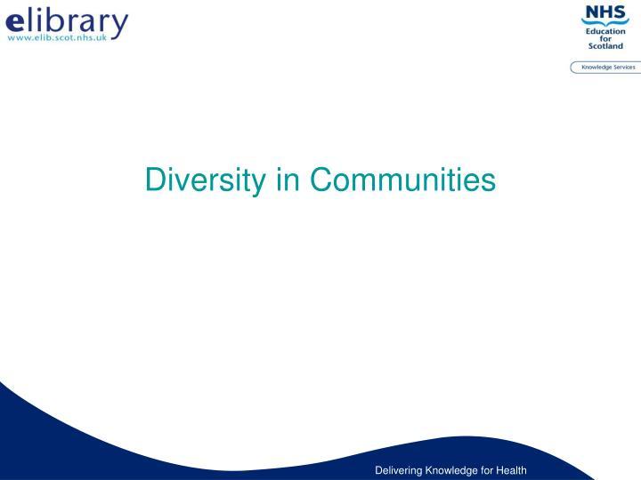 Diversity in Communities