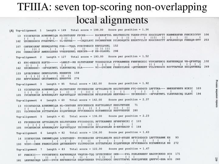 TFIIIA: seven top-scoring non-overlapping local alignments