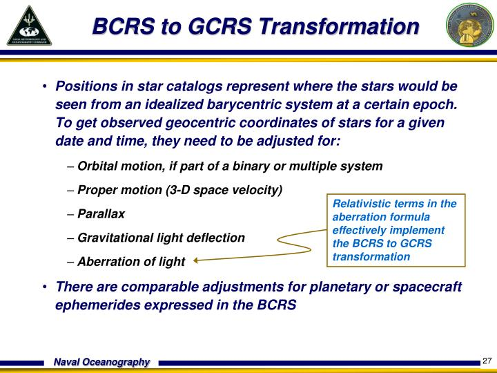BCRS to GCRS Transformation