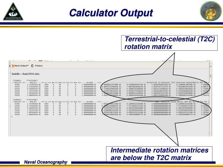 Calculator Output