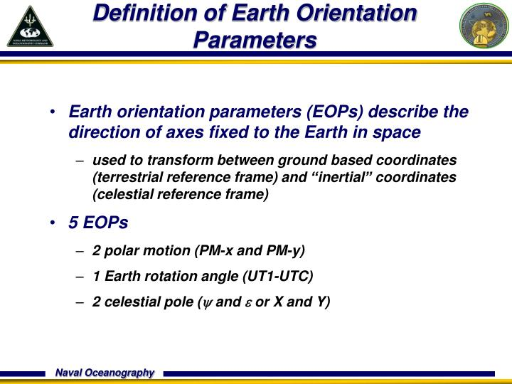 Definition of Earth Orientation Parameters